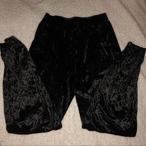 black velvet joggers